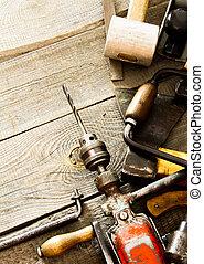 老, 工作, 木制, 很多, 背景, 鉗子,  (drill, 工具,  others)