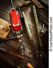 老, 工作, 木制, 很多, 鑿子, 背景, 看見,  (drill, 工具,  others)