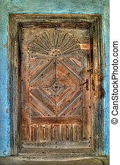 老, 很少, 木制的門