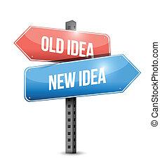 老, 想法, 新的想法, 簽署, 插圖, 設計