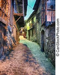 老, 房子, 在, kakopetria, 村莊, 塞浦路斯