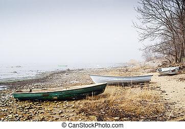老, 早晨, 釣魚, 有霧, 海岸, 小船