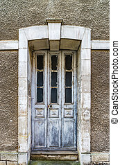 老, 木制的門, 在, 被放棄, 房子, 很少, 法語, 村莊