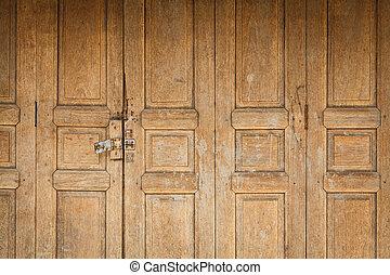 老, 木制的門, 正面圖