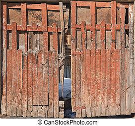 老, 木制, 後門, 正面圖
