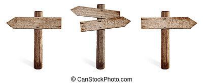 老, 木制, 路標, 集合, 包括, 權利, 左, 以及, 兩個都, 邊, 箭, 被隔离