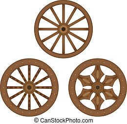 老, 木制, 輪子