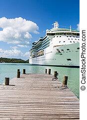 老, 木頭, 碼頭, 由于, 游覽班船, 在, 背景
