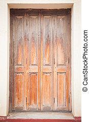 老, 木頭, 門