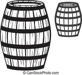 老, 桶, (wooden, barrel)