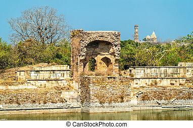 老, 毁灭, 在, chittor, 堡垒, 在中, chittorgarh, 城市, 在中, 印度