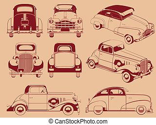 老, 汽車, 黑色半面畫像