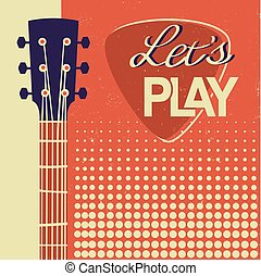 老, 海報, 吉他, 紙, 音樂, retro, 背景, 聲學