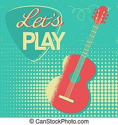 老, 海報, 吉他, 設計, retro, 背景, 聲學, 音樂