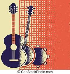 老, 海報, 紙, 音樂, retro, 背景, 儀器, 音樂