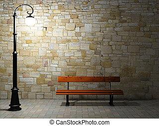 老, 照明, 牆, 光, 長凳, 街道, 磚