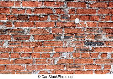 老, 牆, 打破, 背景, 莽漢, 磚, 紅色