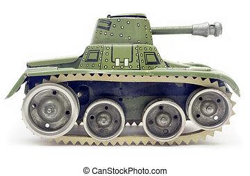 老, 玩具, 坦克, 邊, 看法