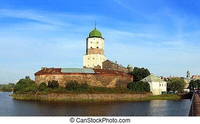 老, 瑞典, 城堡, 在上, 岛, 在中, vyborg, russia