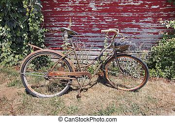老, 生锈, 带有篮子的自行车, 在中, 淡紫色, 花