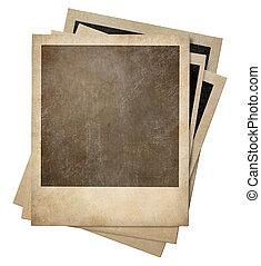 老, 相片, 即顯膠片, 被隔离, 框架, 堆