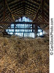 老, 穀倉, 充分, ......的, 干草