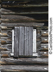 老, 窗口, 錘打錘成錘擊, 木 板條, ......的, a, 木制房子, an, 被放棄, 農舍, russia.,...