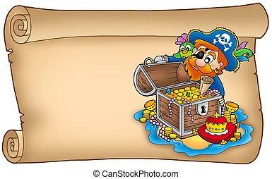 老, 紙卷, 由于, 海盜, 以及, 珍寶