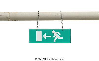 老, 緊急事件, 金屬標誌, 桿, 出口, 懸挂, 綠色