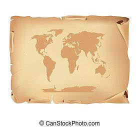 老, 羊皮纸, 带, 世界地图