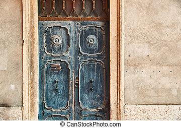 老, 美麗, 門, 由于, a, 報紙, 在, letterbox