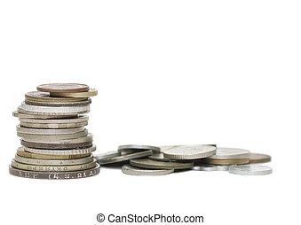 老, 背景, 隔离, 硬币, 白色