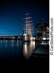 老, 船, 在, gothenburg, 港口