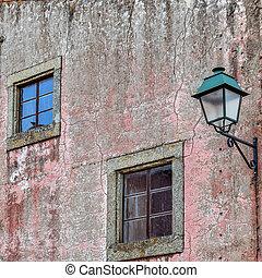 老, 葡萄牙, 窗口, almeida, facade., 电灯柱
