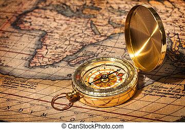 老, 葡萄酒, 黃金, 指南針, 上, 古老, 地圖