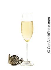 老, 观看, 口袋, 玻璃, 背景, 冷, 香槟酒, 白色