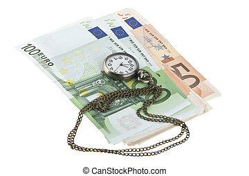 老, 观看, 现金, 隔离, 口袋, 背景, 白色