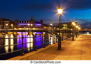 老 鎮, 夜間, 在, 斯德哥爾摩, 瑞典