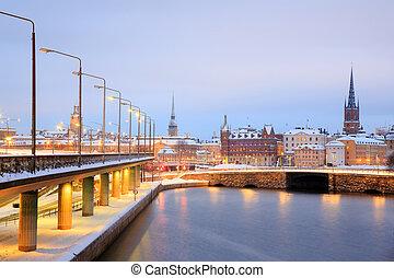 老 鎮, 斯德哥爾摩, 城市, 在, 黃昏, 瑞典