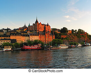 老 鎮, 都市風景, 在, 斯德哥爾摩, 瑞典