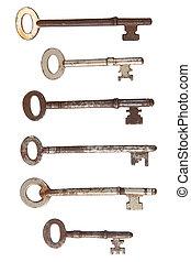 老, 鑰匙, 六, 被隔离, 生鏽, white.