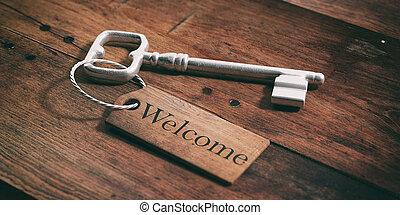 老, 鑰匙, 由于, 標簽, 歡迎, 上, a, 木制, 背景。, 3d, 插圖