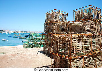 老, 钓鱼, 笼子, 在中, the, 港口, 在中, cascais, 葡萄牙