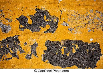 老, 黃色, 牆, 結構