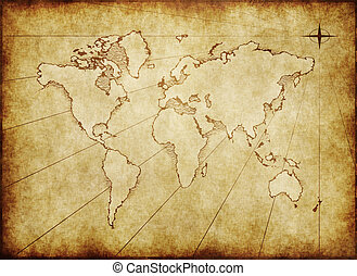 老, grungy, 世界地图, 在上, 纸