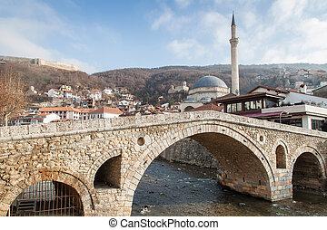 老, kosovo, 冬季, prizren, 里程碑, stonebridge