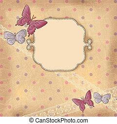 老, lace., 葡萄酒, 蝴蝶, 紙, 背景