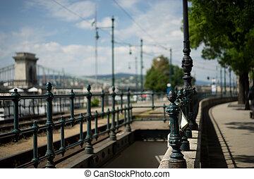老, metall, 柵欄, 近, 鏈條橋梁, 在, 布達佩斯