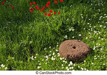老, millstone, 在花园, 同时,, 花