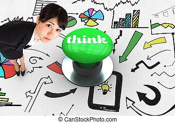 考えなさい, に対して, ディジタル方式で生成された, 緑, 押しボタン